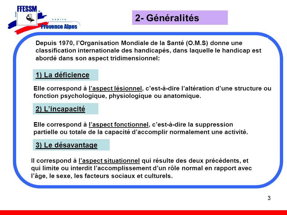 3 2- Généralités Depuis 1970, lOrganisation Mondiale de la Santé (O.M.S) donne une classification internationale des handicapés, dans laquelle le hand