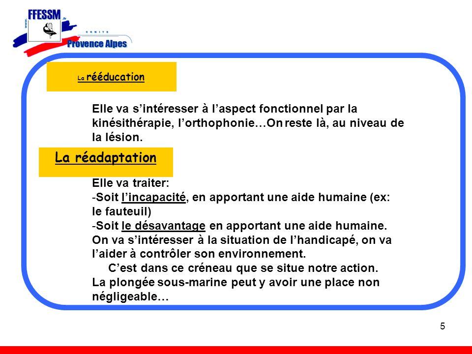 5 La rééducation La réadaptation Elle va sintéresser à laspect fonctionnel par la kinésithérapie, lorthophonie…On reste là, au niveau de la lésion. El