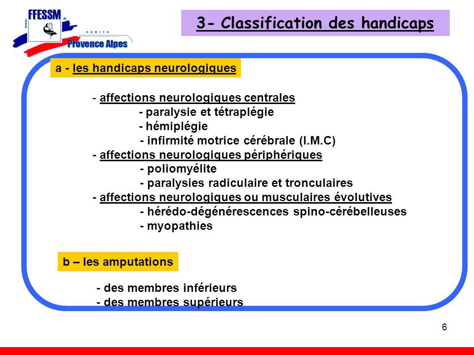 6 3- Classification des handicaps - affections neurologiques centrales - paralysie et tétraplégie - hémiplégie - infirmité motrice cérébrale (I.M.C) -