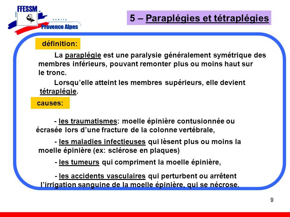 9 5 – Paraplégies et tétraplégies définition: La paraplégie est une paralysie généralement symétrique des membres inférieurs, pouvant remonter plus ou