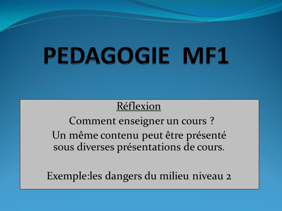 Réflexion Comment enseigner un cours ? Un même contenu peut être présenté sous diverses présentations de cours. Exemple:les dangers du milieu niveau 2