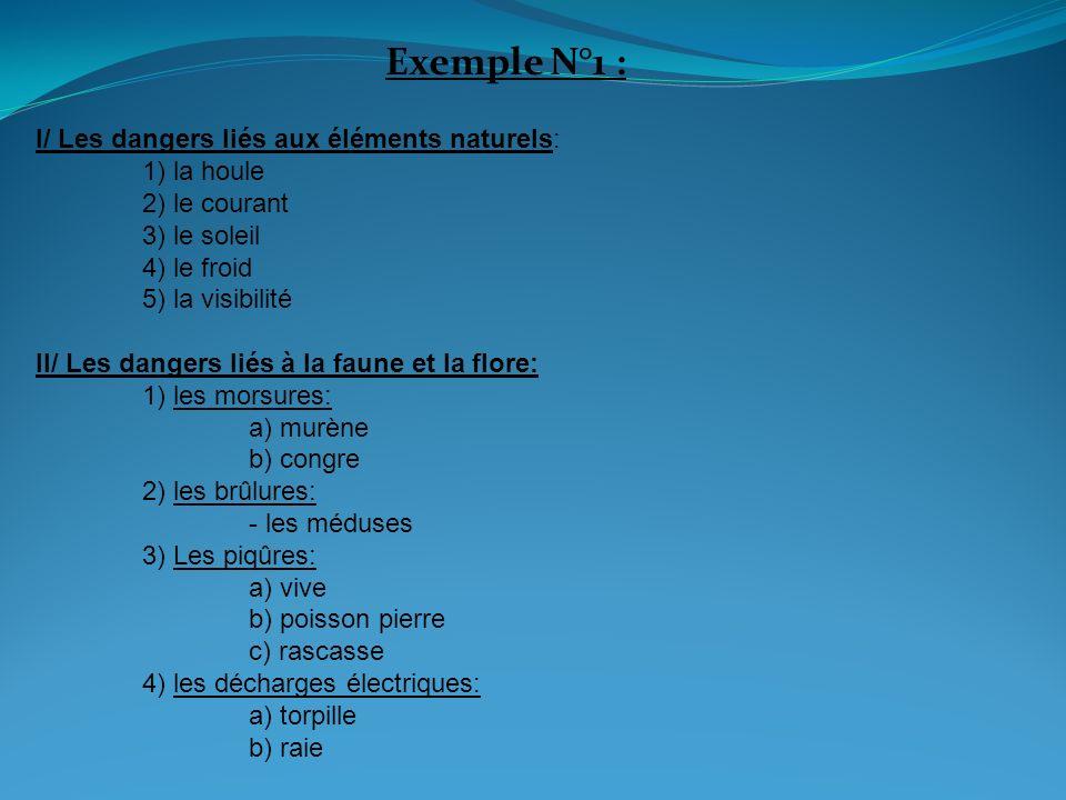 Exemple N°1 : III/ Les dangers liés à lhomme: 1) le matériel -combinaison -cagoule 2) les mines 3) les épaves 4) les filets 5) les embarcations (voiliers, planches) 6) les bouteilles de plongée IV/ Les dangers liés à la physiologie: 1) les barotraumatismes 2)La Surpression pulmonaire 3)La noyade 4)Le froid en immersion 5)Le stress (narcose) 6) Les accidents de décompression