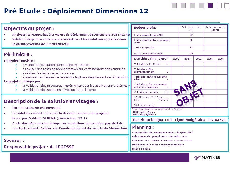 COPIL du 31/08/2011 Pré Etude : Déploiement Dimensions 12 10 Périmètre : Le projet consiste : à valider les évolutions demandées par Natixis à réalise