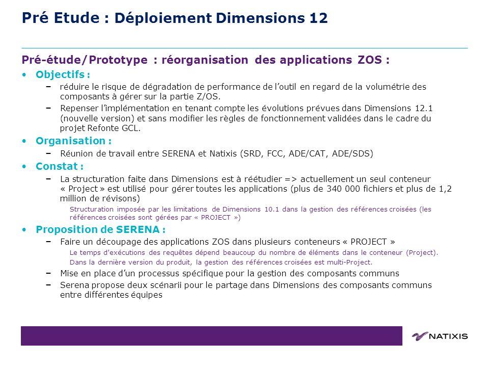 COPIL du 31/08/2011 Pré Etude : Déploiement Dimensions 12 Pré-étude/Prototype : réorganisation des applications ZOS : Objectifs : – réduire le risque de dégradation de performance de loutil en regard de la volumétrie des composants à gérer sur la partie Z/OS.