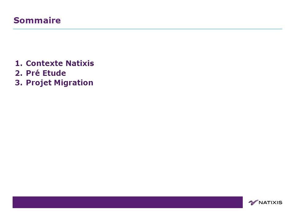 COPIL du 31/08/2011 1.Contexte Natixis 2.Pré Etude 3.Projet Migration Sommaire