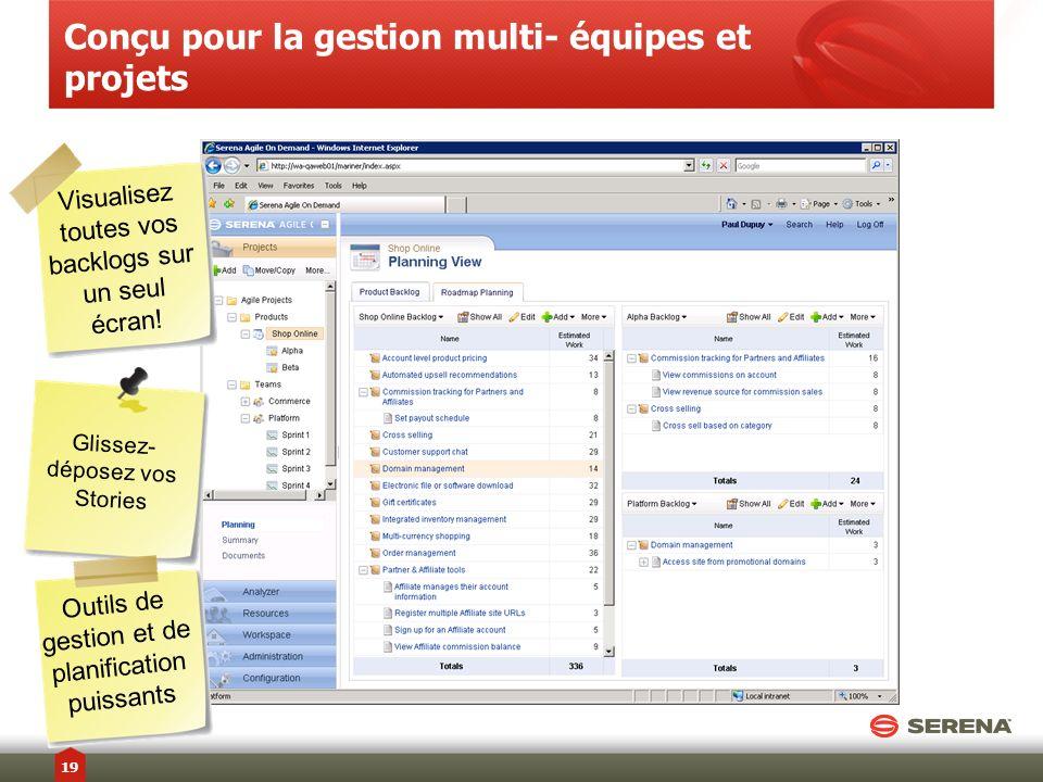 Conçu pour la gestion multi- équipes et projets Glissez- déposez vos Stories Visualisez toutes vos backlogs sur un seul écran! Outils de gestion et de