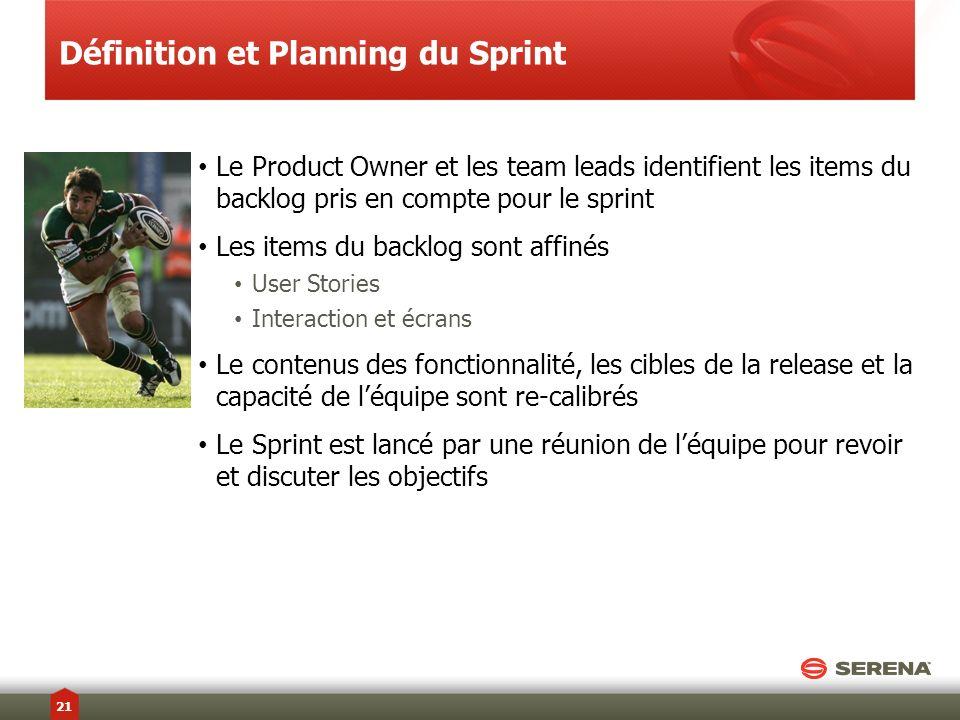 Le Product Owner et les team leads identifient les items du backlog pris en compte pour le sprint Les items du backlog sont affinés User Stories Inter