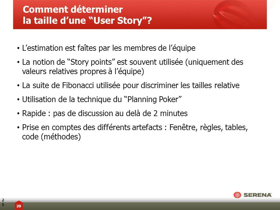 Lestimation est faîtes par les membres de léquipe La notion de Story points est souvent utilisée (uniquement des valeurs relatives propres à léquipe)