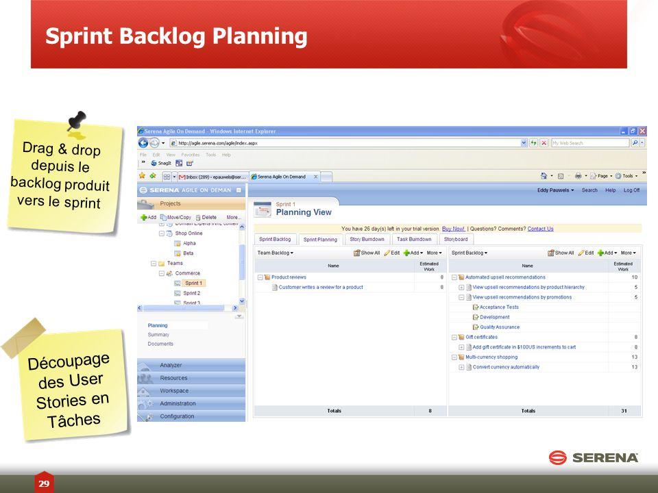 Sprint Backlog Planning Drag & drop depuis le backlog produit vers le sprint Découpage des User Stories en Tâches 29