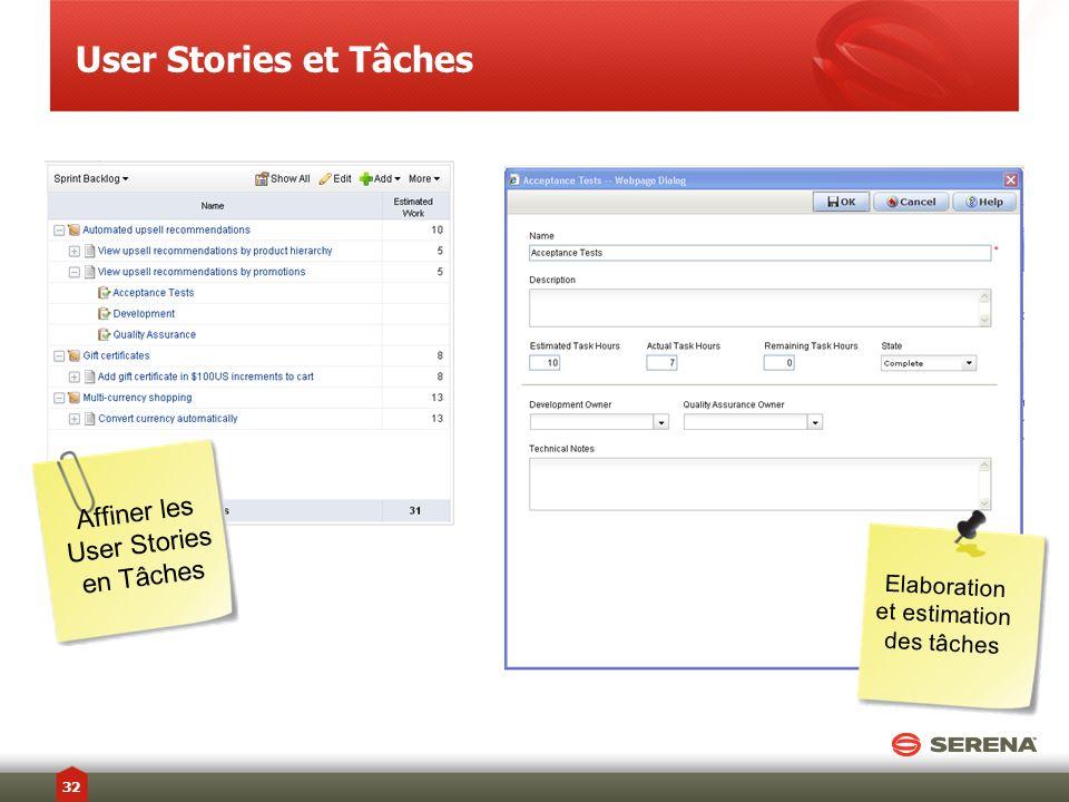 User Stories et Tâches Affiner les User Stories en Tâches Elaboration et estimation des tâches 32