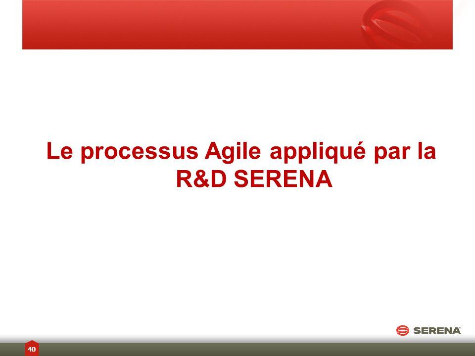 Le processus Agile appliqué par la R&D SERENA 40
