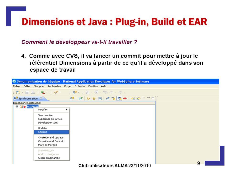 Dimensions et Java : Plug-in, Build et EAR Comment le développeur va-t-il travailler ? 4. Comme avec CVS, il va lancer un commit pour mettre à jour le