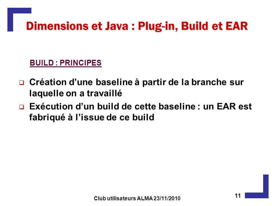 Création dune baseline à partir de la branche sur laquelle on a travaillé Exécution dun build de cette baseline : un EAR est fabriqué à lissue de ce build Dimensions et Java : Plug-in, Build et EAR BUILD : PRINCIPES 11 Club utilisateurs ALMA 23/11/2010