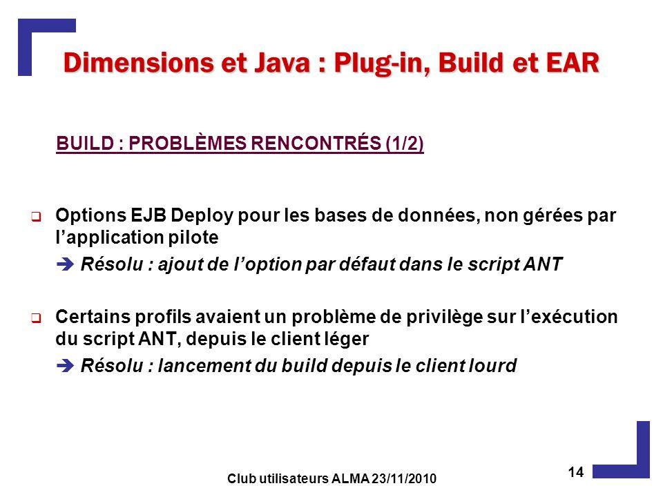 Options EJB Deploy pour les bases de données, non gérées par lapplication pilote Résolu : ajout de loption par défaut dans le script ANT Certains profils avaient un problème de privilège sur lexécution du script ANT, depuis le client léger Résolu : lancement du build depuis le client lourd Dimensions et Java : Plug-in, Build et EAR BUILD : PROBLÈMES RENCONTRÉS (1/2) 14 Club utilisateurs ALMA 23/11/2010