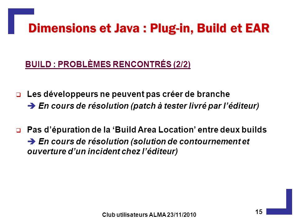 Les développeurs ne peuvent pas créer de branche En cours de résolution (patch à tester livré par léditeur) Pas dépuration de la Build Area Location entre deux builds En cours de résolution (solution de contournement et ouverture dun incident chez léditeur) Dimensions et Java : Plug-in, Build et EAR BUILD : PROBLÈMES RENCONTRÉS (2/2) 15 Club utilisateurs ALMA 23/11/2010
