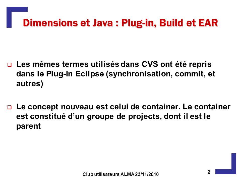 Les mêmes termes utilisés dans CVS ont été repris dans le Plug-In Eclipse (synchronisation, commit, et autres) Le concept nouveau est celui de contain