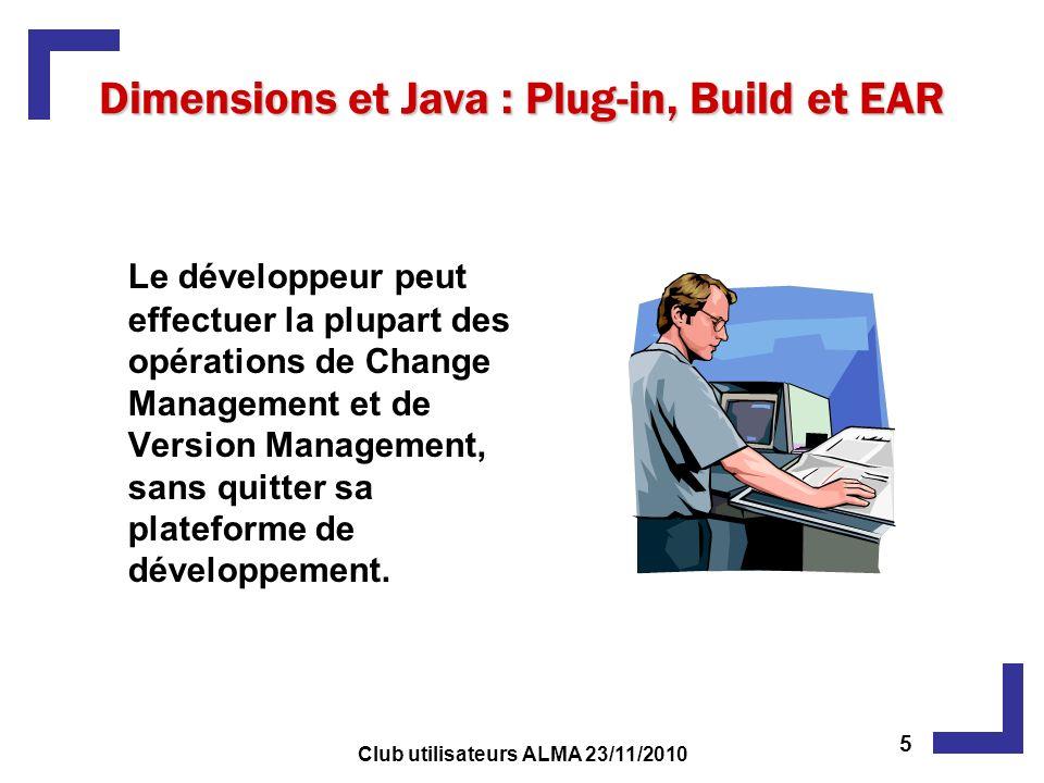 Dimensions et Java : Plug-in, Build et EAR Le développeur peut effectuer la plupart des opérations de Change Management et de Version Management, sans quitter sa plateforme de développement.