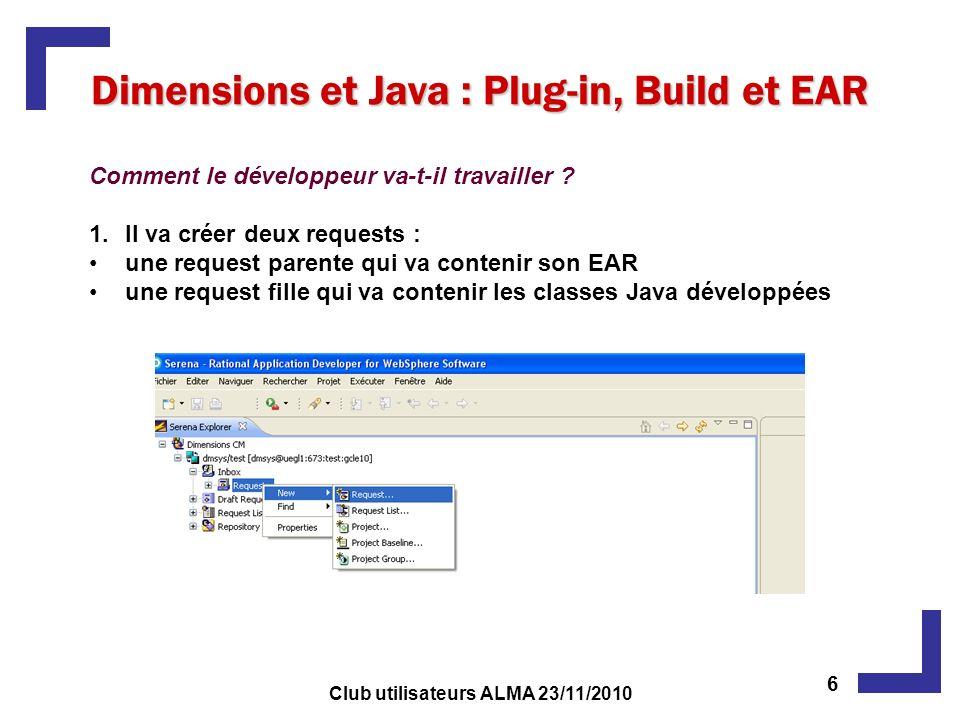 Dimensions et Java : Plug-in, Build et EAR Comment le développeur va-t-il travailler ? 1.Il va créer deux requests : une request parente qui va conten