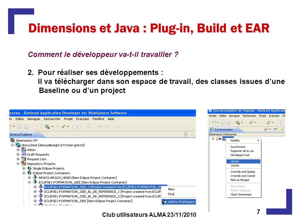 Dimensions et Java : Plug-in, Build et EAR Comment le développeur va-t-il travailler ? 2. Pour réaliser ses développements : Il va télécharger dans so