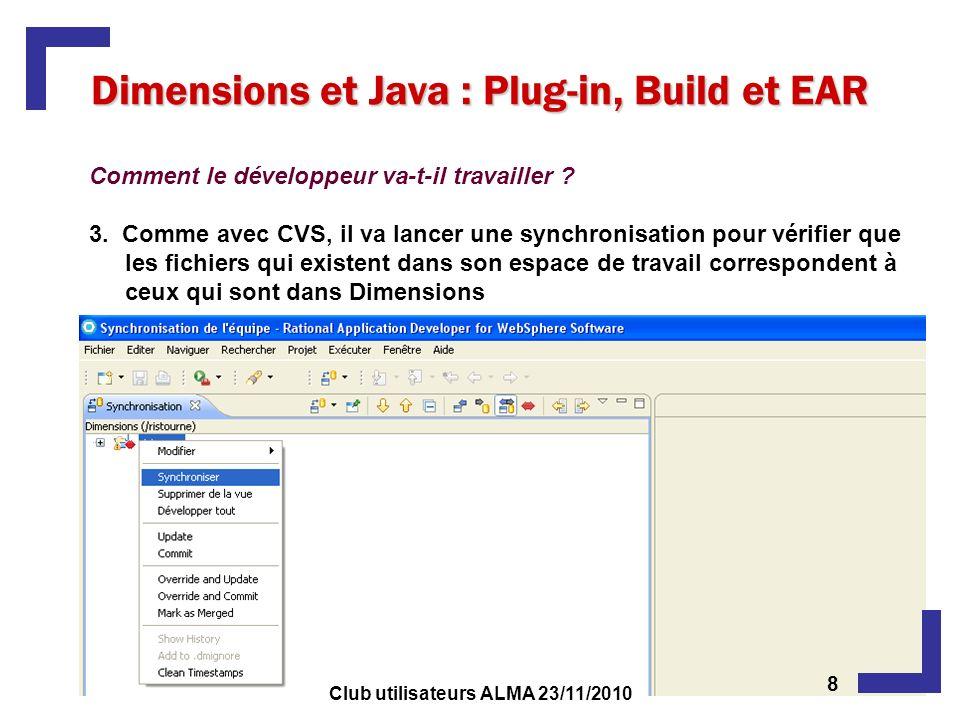 Dimensions et Java : Plug-in, Build et EAR Comment le développeur va-t-il travailler ? 3. Comme avec CVS, il va lancer une synchronisation pour vérifi