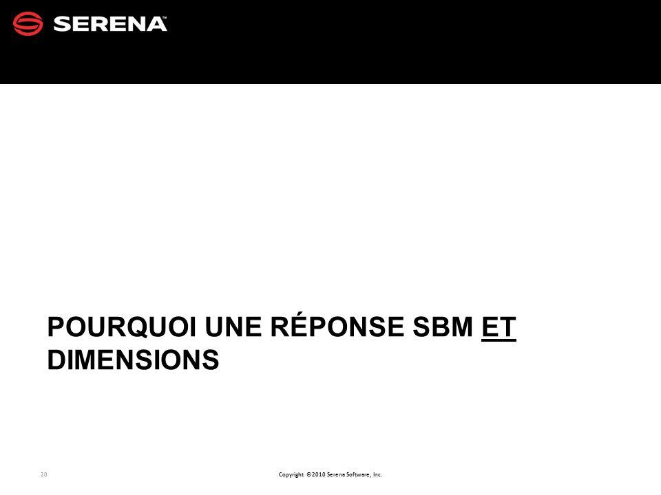 20 Copyright ©2010 Serena Software, Inc. POURQUOI UNE RÉPONSE SBM ET DIMENSIONS