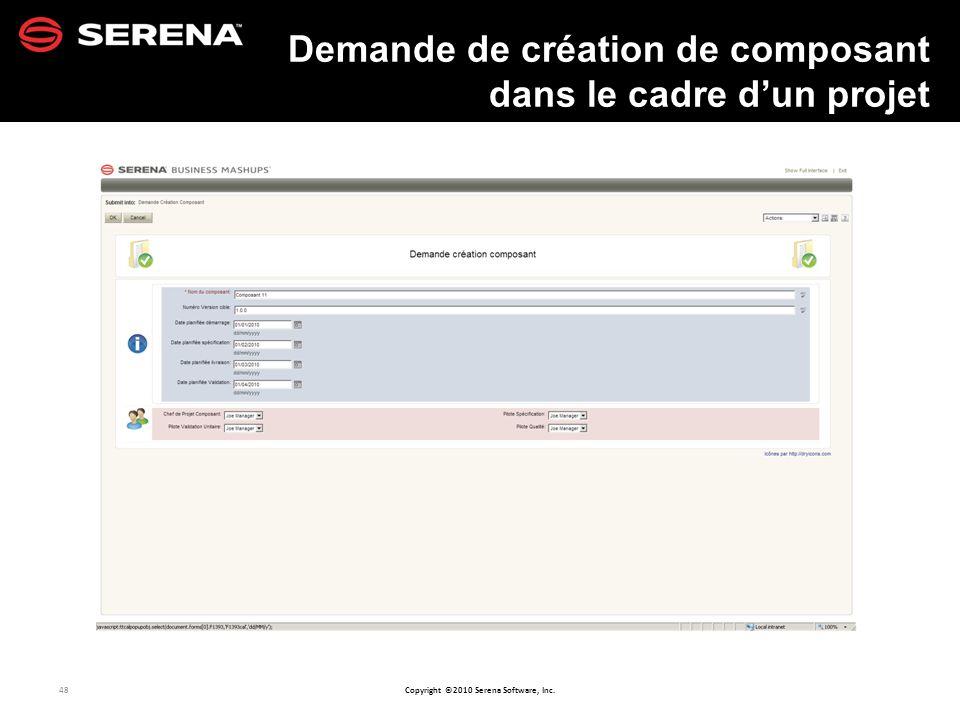 48 Copyright ©2010 Serena Software, Inc. Demande de création de composant dans le cadre dun projet