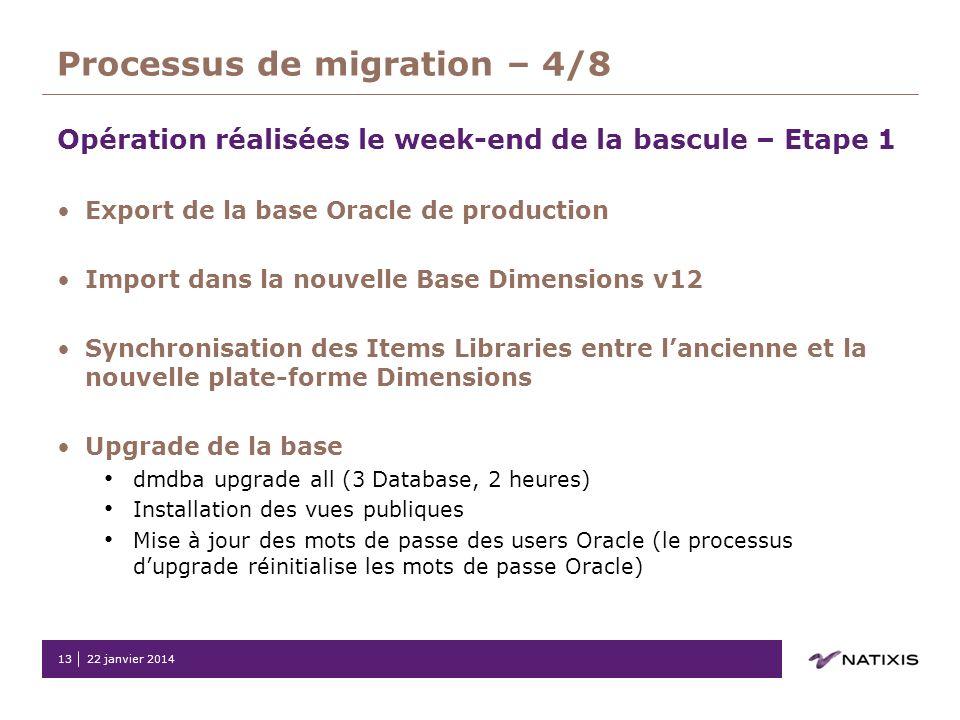 22 janvier 201413 Processus de migration – 4/8 Opération réalisées le week-end de la bascule – Etape 1 Export de la base Oracle de production Import d