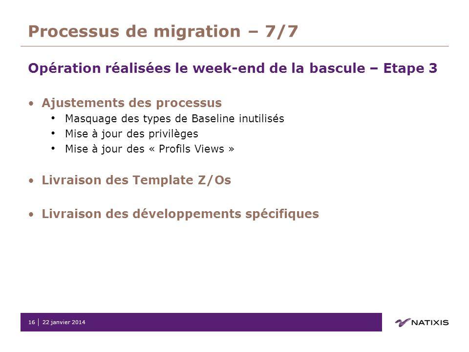22 janvier 201416 Processus de migration – 7/7 Opération réalisées le week-end de la bascule – Etape 3 Ajustements des processus Masquage des types de