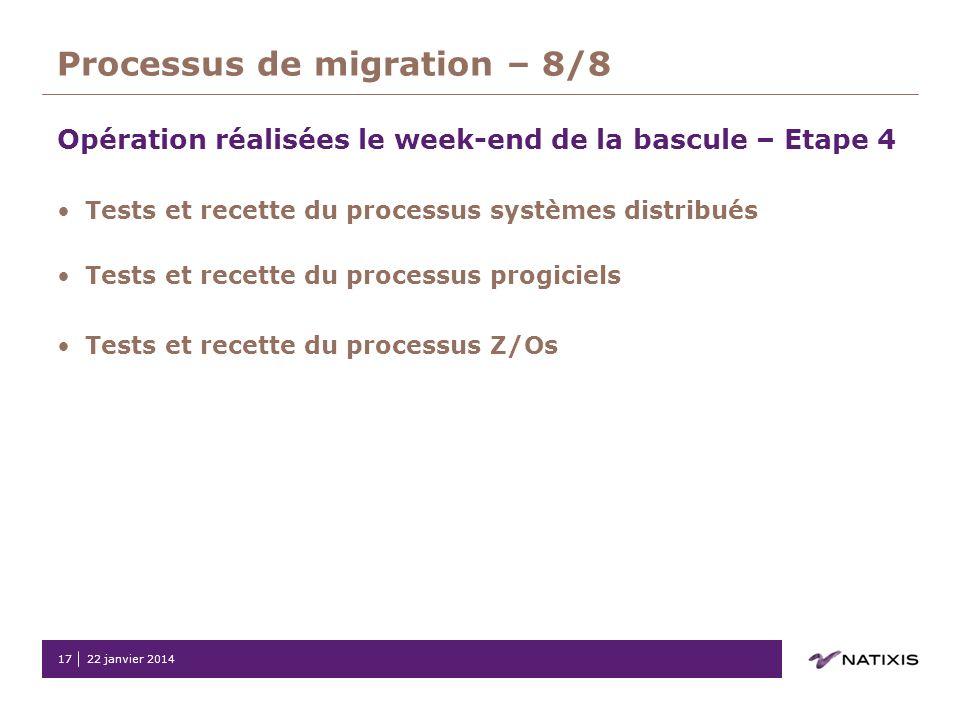 22 janvier 201417 Processus de migration – 8/8 Opération réalisées le week-end de la bascule – Etape 4 Tests et recette du processus systèmes distribu