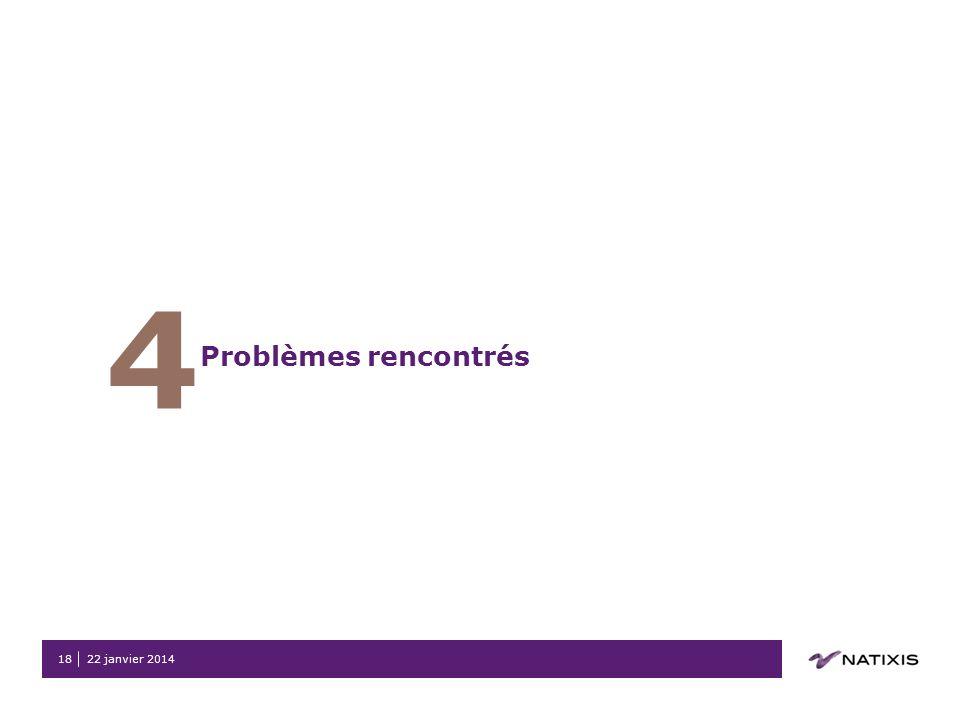 22 janvier 201418 4 Problèmes rencontrés
