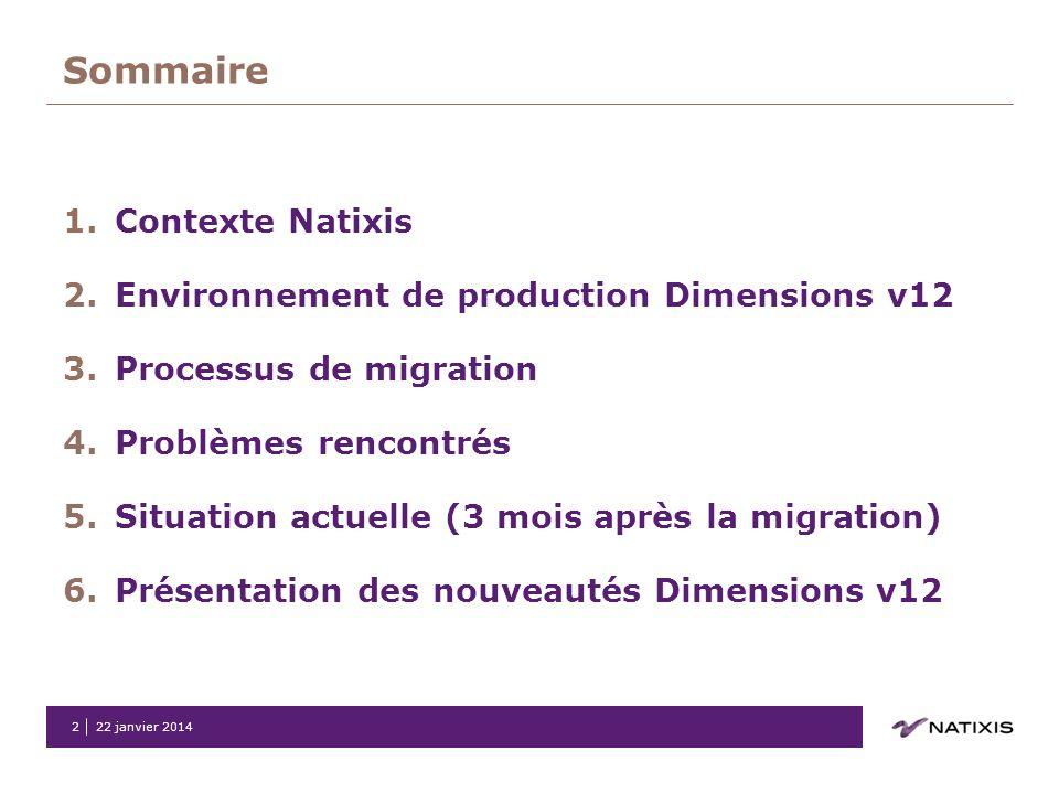 22 janvier 20142 Sommaire 1.Contexte Natixis 2.Environnement de production Dimensions v12 3.Processus de migration 4.Problèmes rencontrés 5.Situation
