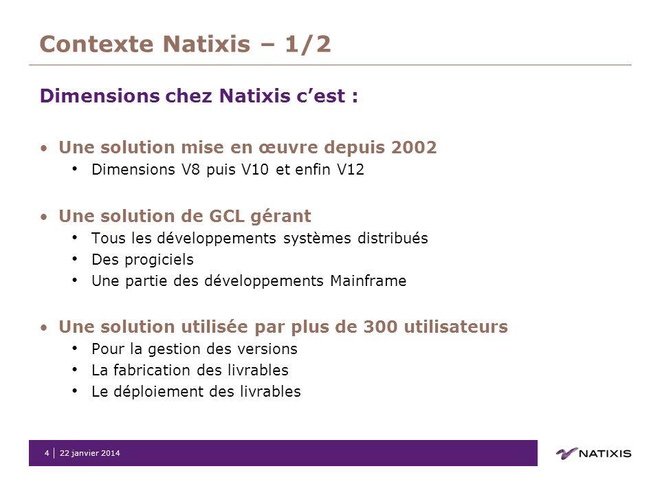 22 janvier 20144 Contexte Natixis – 1/2 Dimensions chez Natixis cest : Une solution mise en œuvre depuis 2002 Dimensions V8 puis V10 et enfin V12 Une