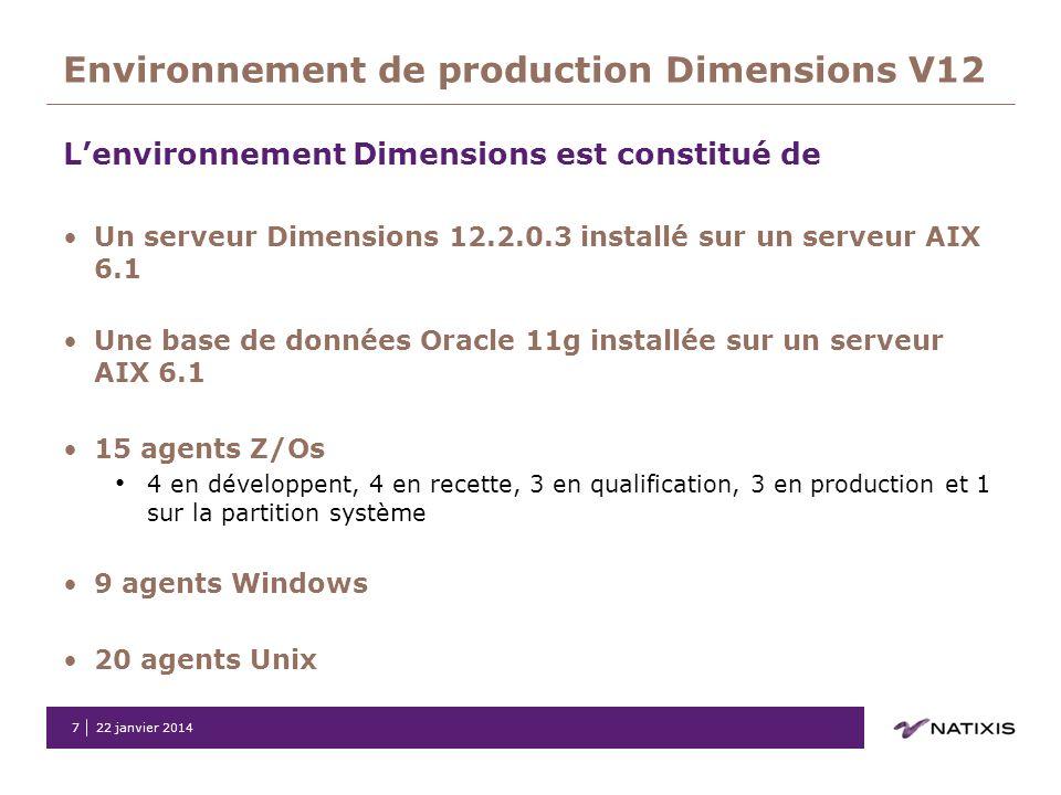 22 janvier 20147 Environnement de production Dimensions V12 Lenvironnement Dimensions est constitué de Un serveur Dimensions 12.2.0.3 installé sur un
