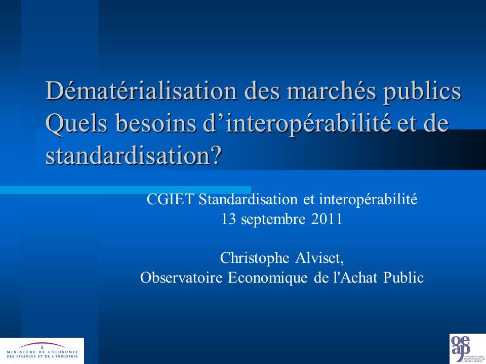 Dématérialisation des marchés publics Quels besoins dinteropérabilité et de standardisation.