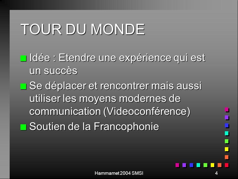 4 TOUR DU MONDE n Idée : Etendre une expérience qui est un succès n Se déplacer et rencontrer mais aussi utiliser les moyens modernes de communication (Videoconférence) n Soutien de la Francophonie