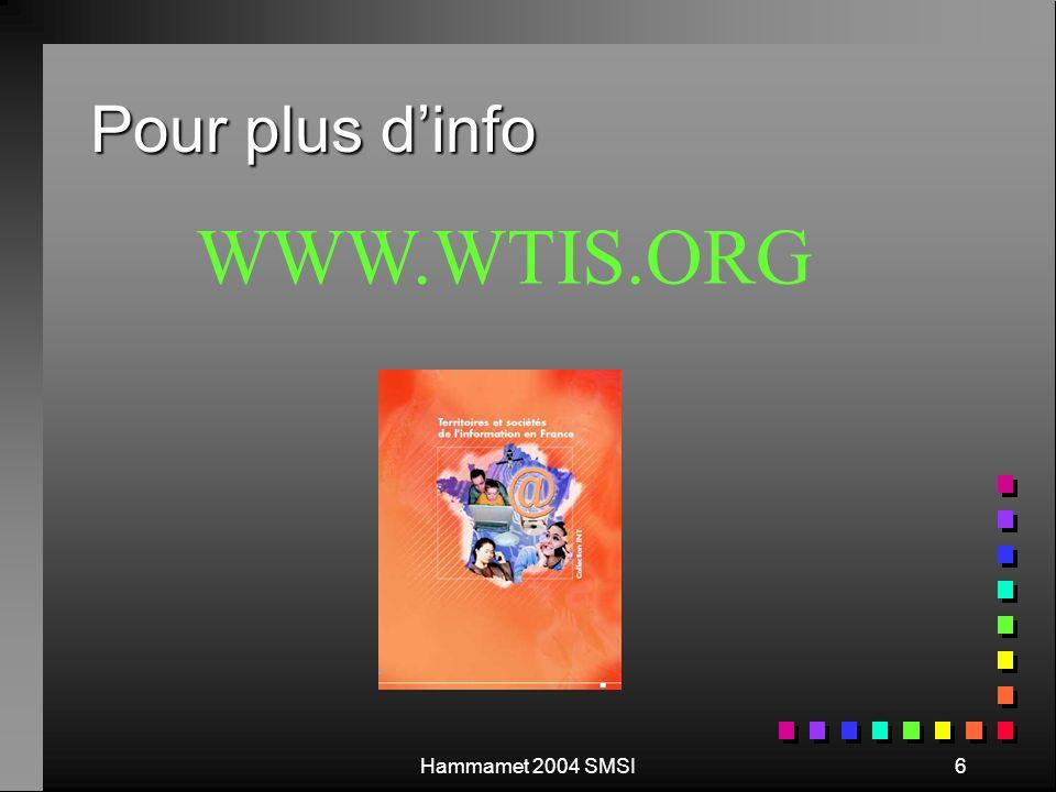 Hammamet 2004 SMSI6 Pour plus dinfo WWW.WTIS.ORG