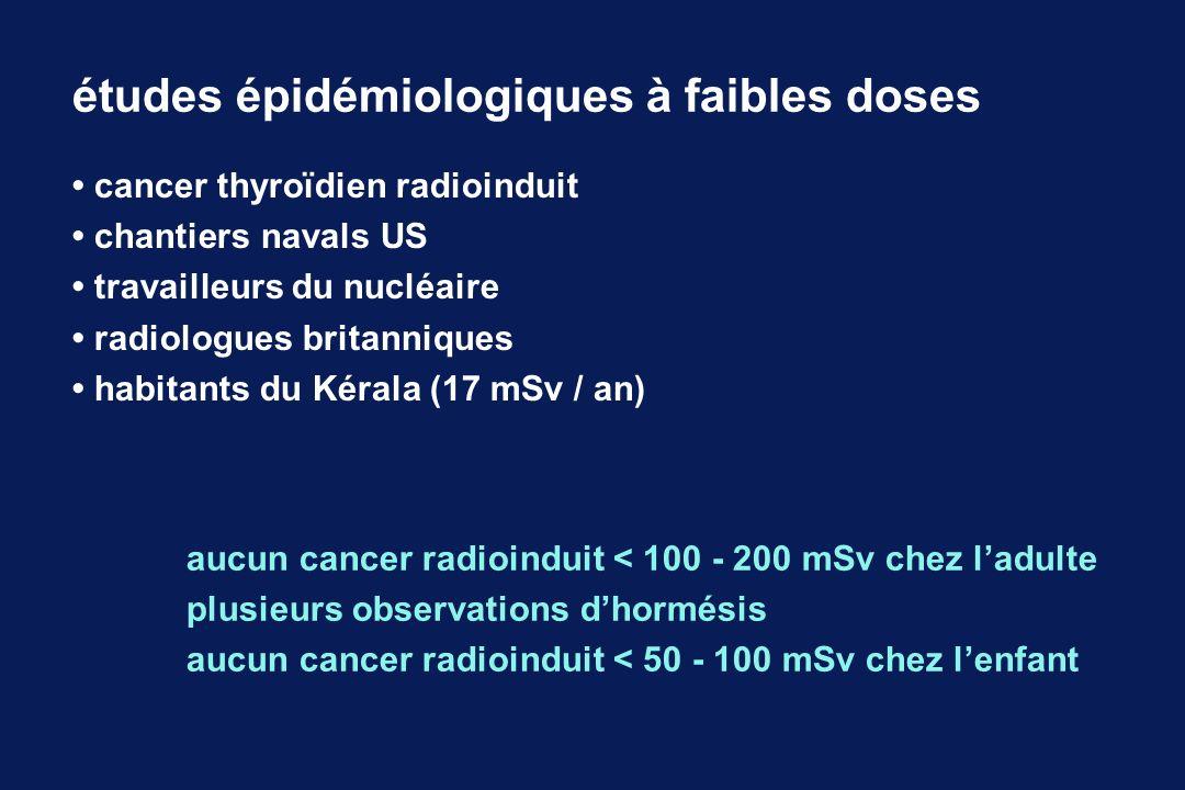 cancer thyroïdien radioinduit chantiers navals US travailleurs du nucléaire radiologues britanniques habitants du Kérala (17 mSv / an) aucun cancer ra