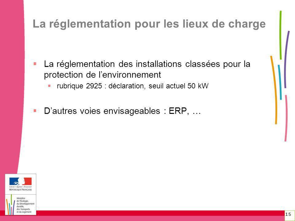 15 La réglementation pour les lieux de charge La réglementation des installations classées pour la protection de lenvironnement rubrique 2925 : déclar