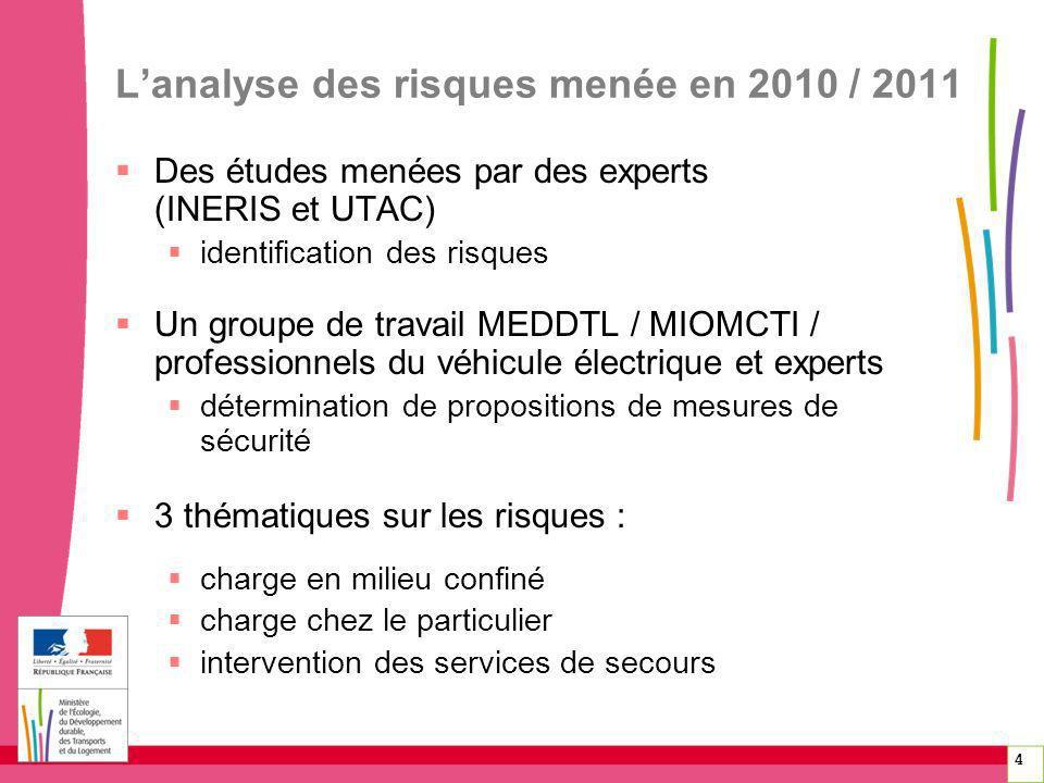 4 Lanalyse des risques menée en 2010 / 2011 Des études menées par des experts (INERIS et UTAC) identification des risques Un groupe de travail MEDDTL