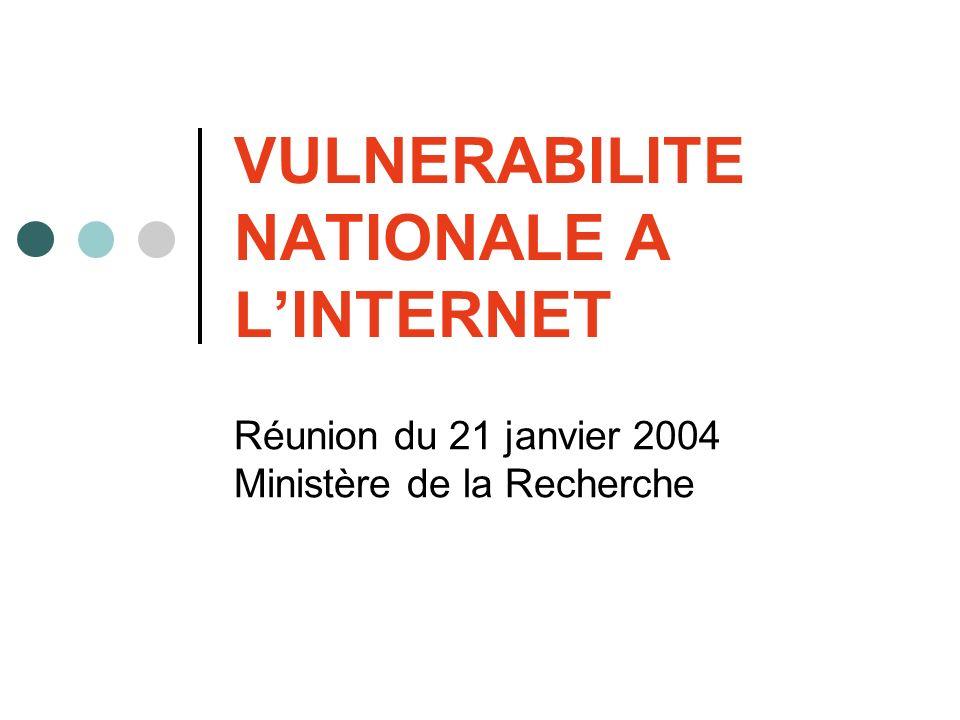 VULNERABILITE NATIONALE A LINTERNET Réunion du 21 janvier 2004 Ministère de la Recherche