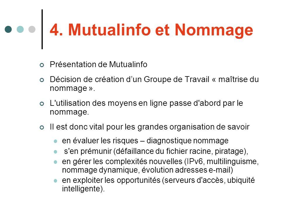 4. Mutualinfo et Nommage Présentation de Mutualinfo Décision de création dun Groupe de Travail « maîtrise du nommage ». L'utilisation des moyens en li
