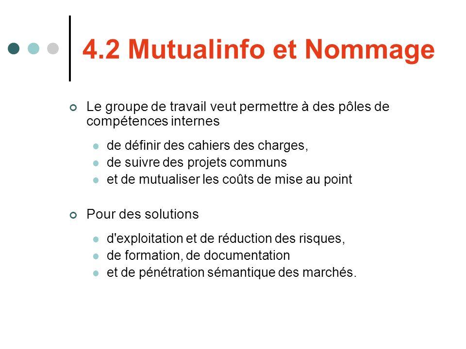 4.2 Mutualinfo et Nommage Le groupe de travail veut permettre à des pôles de compétences internes de définir des cahiers des charges, de suivre des pr