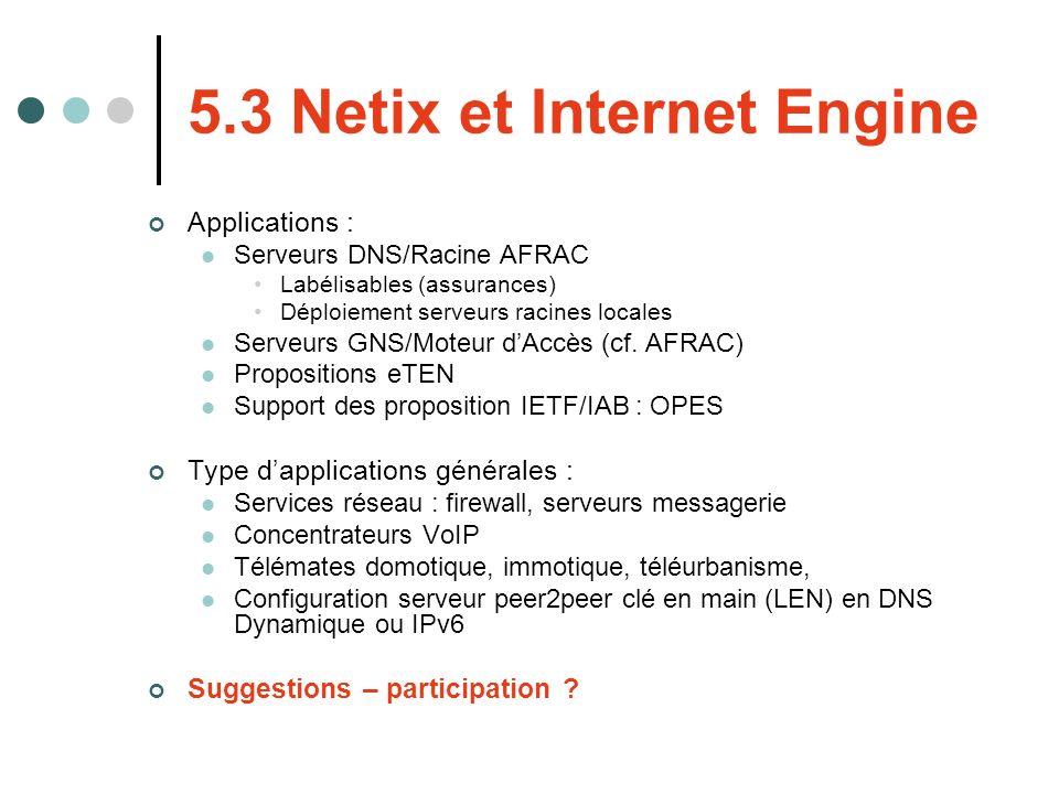 5.3 Netix et Internet Engine Applications : Serveurs DNS/Racine AFRAC Labélisables (assurances) Déploiement serveurs racines locales Serveurs GNS/Mote