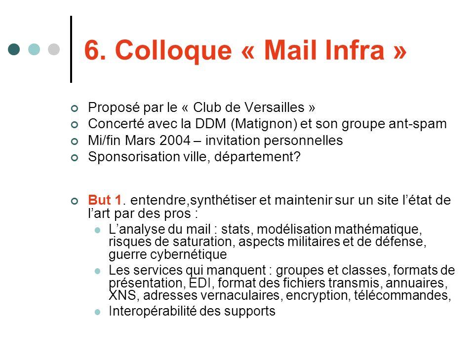 6. Colloque « Mail Infra » Proposé par le « Club de Versailles » Concerté avec la DDM (Matignon) et son groupe ant-spam Mi/fin Mars 2004 – invitation