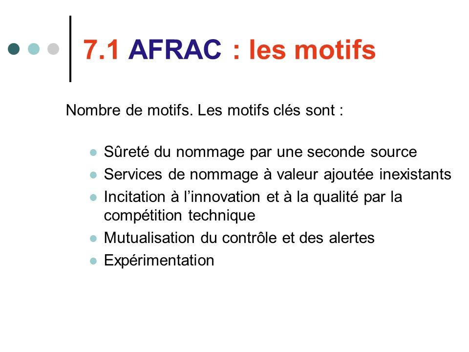 7.1 AFRAC : les motifs Nombre de motifs. Les motifs clés sont : Sûreté du nommage par une seconde source Services de nommage à valeur ajoutée inexista