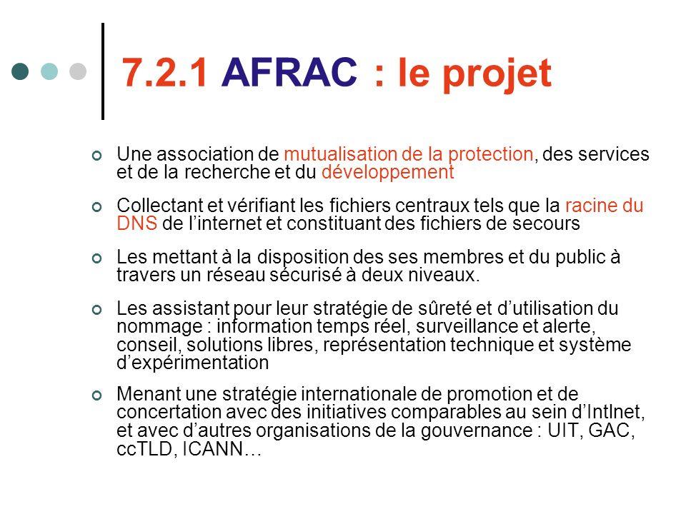 7.2.1 AFRAC : le projet Une association de mutualisation de la protection, des services et de la recherche et du développement Collectant et vérifiant