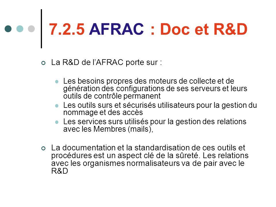 7.2.5 AFRAC : Doc et R&D La R&D de lAFRAC porte sur : Les besoins propres des moteurs de collecte et de génération des configurations de ses serveurs