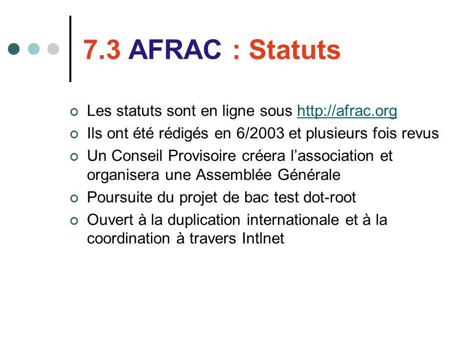 7.3 AFRAC : Statuts Les statuts sont en ligne sous http://afrac.orghttp://afrac.org Ils ont été rédigés en 6/2003 et plusieurs fois revus Un Conseil P