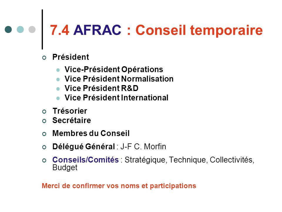 7.4 AFRAC : Conseil temporaire Président Vice-Président Opérations Vice Président Normalisation Vice Président R&D Vice Président International Trésor