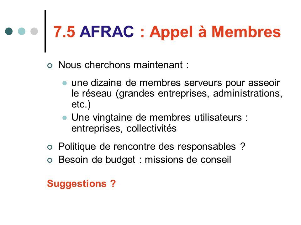7.5 AFRAC : Appel à Membres Nous cherchons maintenant : une dizaine de membres serveurs pour asseoir le réseau (grandes entreprises, administrations,